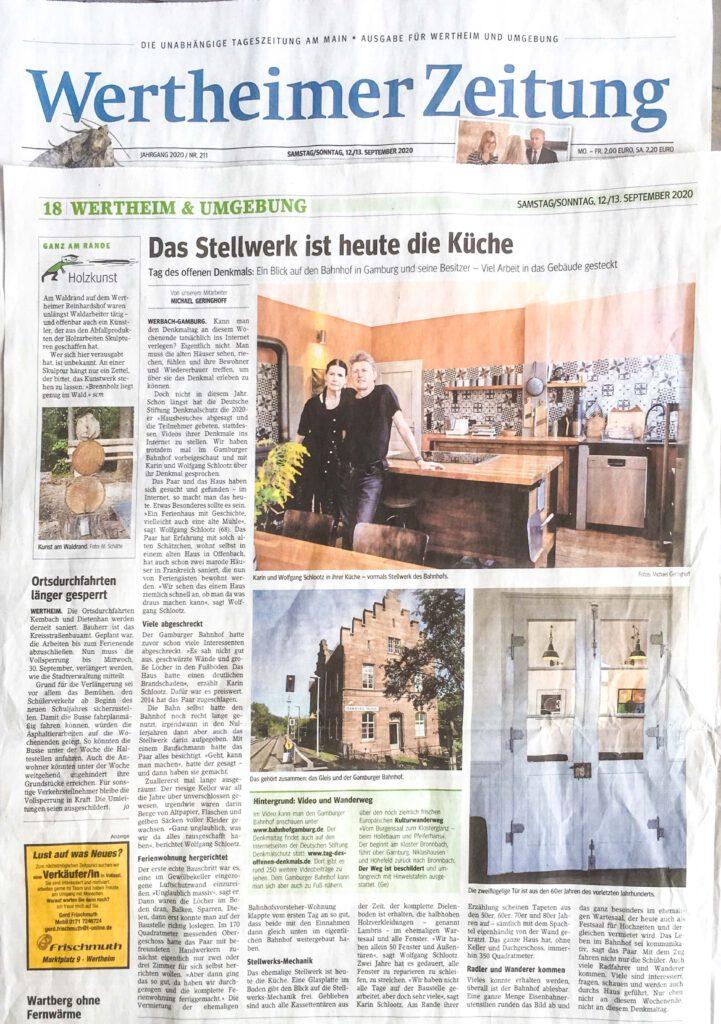 Bahnhof-Gamburg-Main-Echo-Wertheimer-Zeitung-Interview-Wolfgang-Schlootz-Denkmaltag-2020-Ferienwohnung-Main-Tauber-Kreis-Hochzeitslocation-Eventlocation-Hotel-Liebliches-Taubertal-2021 bahnhofgamburg-ferienwohnung-holidayrental-liebliches-taubertal-franken-main-tauber-kreis-hotel-unterkunft-sommer-urlaub-2020-reiseziele-familienurlaub-mit-hund-wandern-hochzeitslocation-eventlocation-filmlocation-drehort-locationscout-hochzeitsplaner-eventmanager-catering-outdoor-fahrradfahren-fahrradtouren-kanu-geocaching-deutschland-germany-mikroabenteuer-microadventure-Eventlocation-Bahnhof-Gamburg-Liebliches-Taubertal-Main-Tauber-Kreis-Werbach-Wertheim-Tauberbischofsheim-Feierlocation-Festsaal-Hochzeitslocation-Hochzeitsfeier-Seminarraum-Vereinsraum-Saalbau Eventlocation-Bahnhof-Gamburg-Liebliches-Taubertal-Main-Tauber-Kreis-Werbach-Wertheim-Tauberbischofsheim-Würzburg-Aschaffenburg-Crailsheim-Creglingen-Babyshower-Taufe-Taufparty-Hochzeitsfeier-Hochzeitsplaner-Hochzeitsplanung-Catering-Caterer-Feierlocation-Festsaal-Hochzeitslocation-Hochzeitsfeier-Seminarraum-Vereinsraum-Yogakurs-Gesangsverein-Vogelzüchter-Distelhausen-Buchenn-Uissigheim-Külsheim-Geocaching-Terrasse-Außenbereich-Garten-Event-Küche-Eventküche-Showküche-Koch-Gastroküche-Gastronomie-Hotel-Tagung-Tagungsstätte-Tagungsraum-Ausstellung-Ausstellungsraum-Saal-Feiersaal-Festsaal-Tauberfranken-Westfranken-Unterfranken-Franken-Odenwald-Spessart-Jubiläum-Firmenevent-Firmenfeier-Betriebsfeier-Betriebsfest-Weihnachtsfeier-Showkoch-Sowcooking-Livecooking-Sternekoch-Restaurant-Ferienwohnung-Ferienwohnungen-Hunde-willkommen-Ausflug-Urlaub-Reise-Travel-Empfang-Sektempfang-Sekt-Champagner-Tischdekoration-Tischdeko-Design-Trends-2020-2021-2022-Hochzeitsdekoration-Hochzeitsdeko-Florist-Redner-Trauredner-Freie-Trauung-Standesamt-kirchliche-Trauung-Braut-Braut2020-Braut2021-Braut2022-Bride-Bridetobe-Bridetobe2020-Bridetobe2021-Bridetobe2022-Hochzeit2020-Hochzeit2021-Hochzeit2022-Deutschland-Germany-Taubervalley-Bräutigam-Groom-Bridez